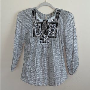 Lucky Brand Embroidered Keyhole 3/4 Sleeves Blouse